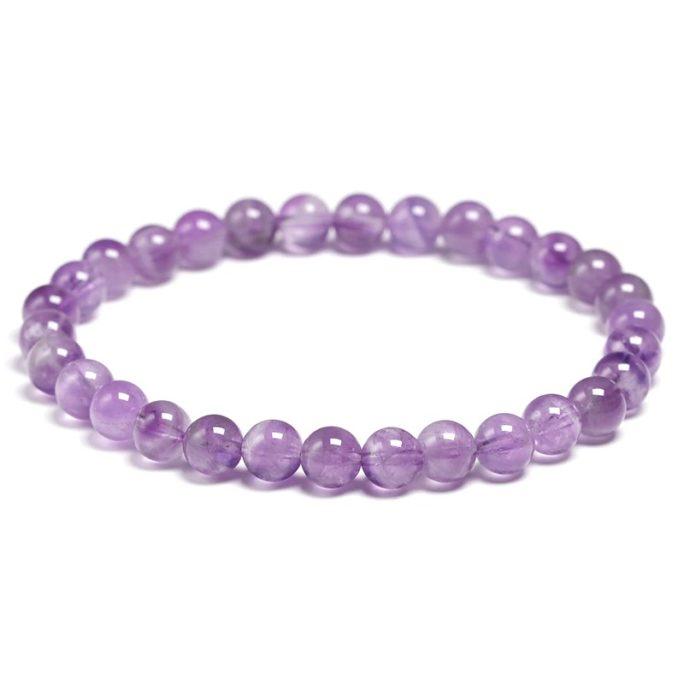 Bracelet améthyste perles 6mm