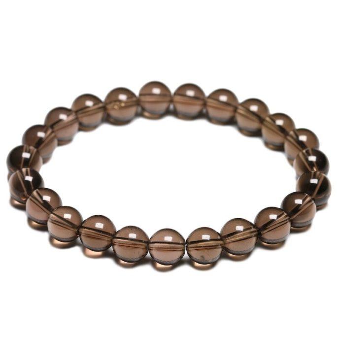 Bracelet en pierre de quartz fumé avec des perles de 8mm