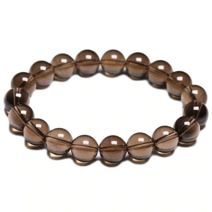 Bracelet en pierre de quartz fumé avec des perles de 10mm