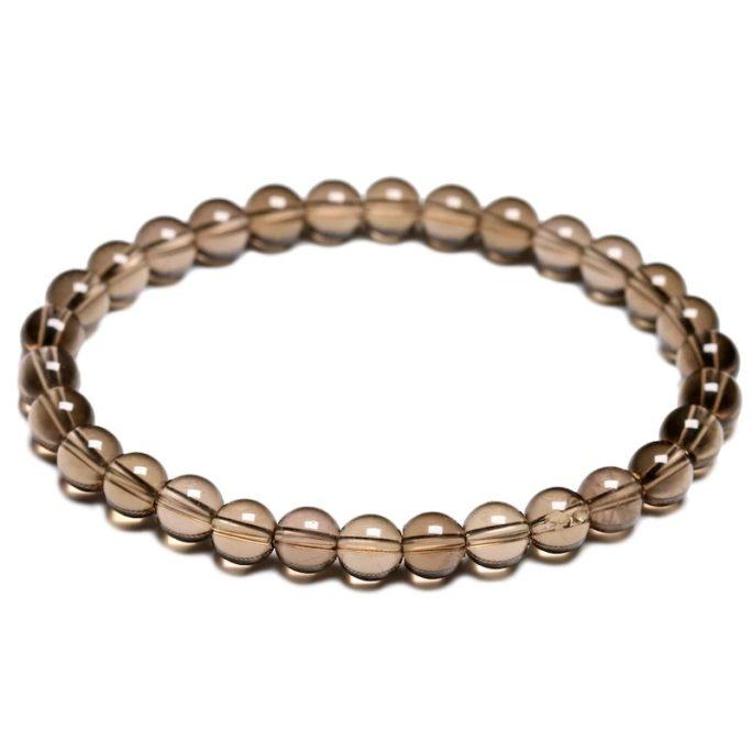 Bracelet en pierre de quartz fumé avec des perles de 6mm
