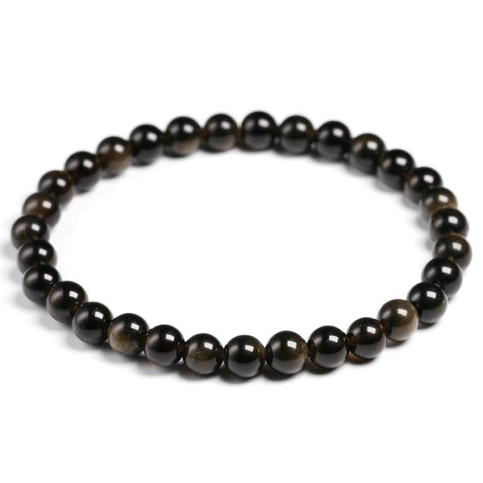 Bracelet obsidienne noir 6mm