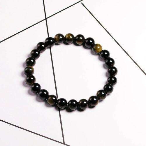 Bracelet obsidienne noir 8mm