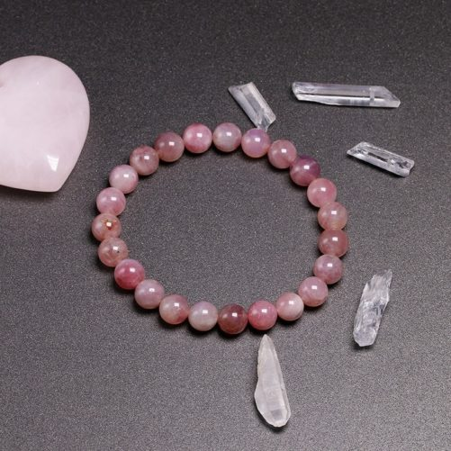 Bracelet en quartz rose 8mm