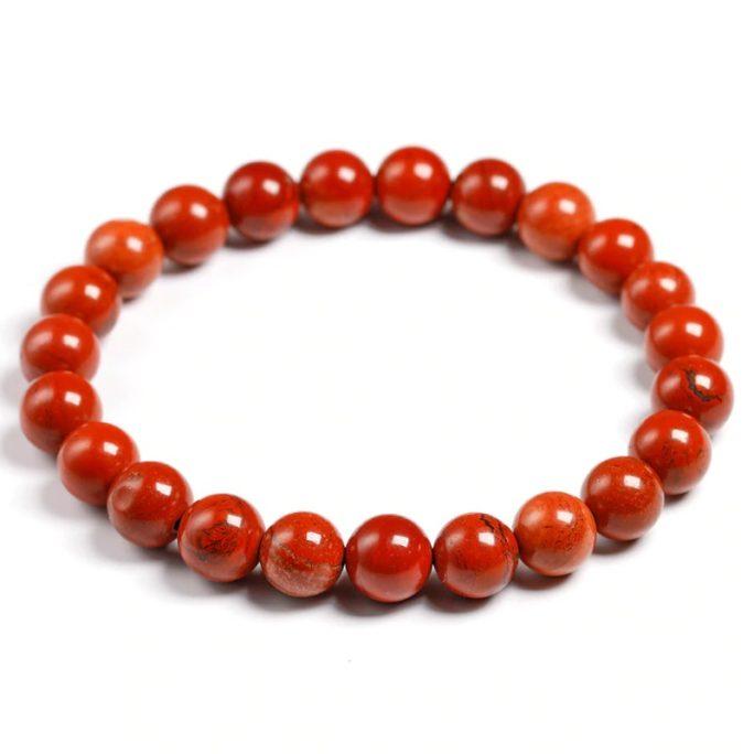 Bracelet en pierre de jaspe rouge avec des perles de 8mm