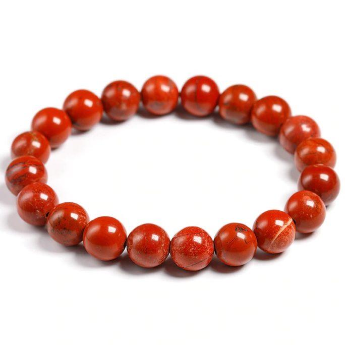 Bracelet en pierre de jaspe rouge avec des perles de 10mm
