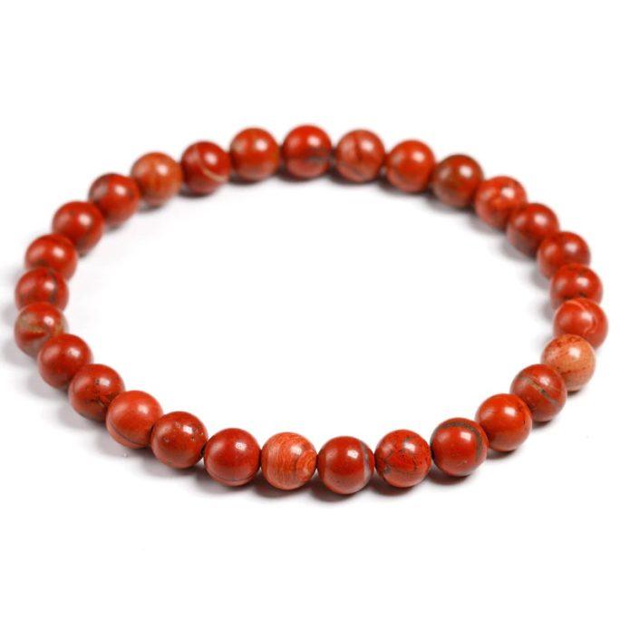 Bracelet en pierre de jaspe rouge avec des perles de 6mm