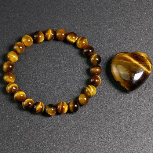 Bracelet œil de tigre avec des perles de 8mm