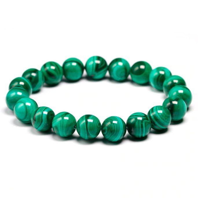 Bracelet en malachite naturelle avec des perles de 10mm