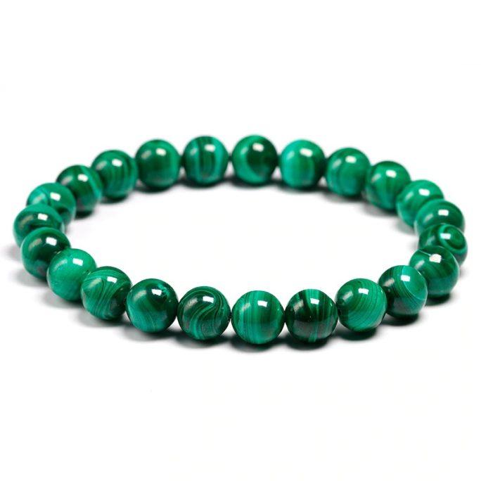 Bracelet en malachite naturelle avec des perles de 8mm