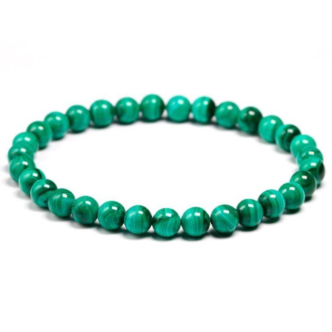 Bracelet en malachite naturelle avec des perles de 6mm