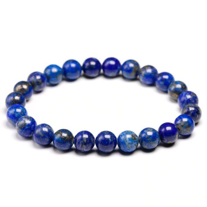 Bracelet en pierre de lapis lazuli avec des perles de 8mm