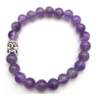 bracelet améthyste 8mm avec Bouddha