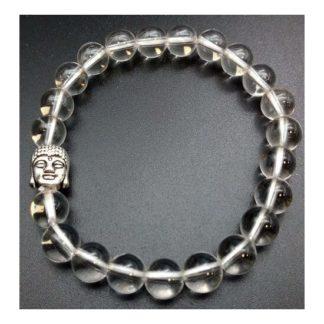 bracelet cristal de roche bouddha 8mm