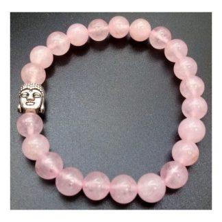 bracelet quartz rose bouddha 8mm