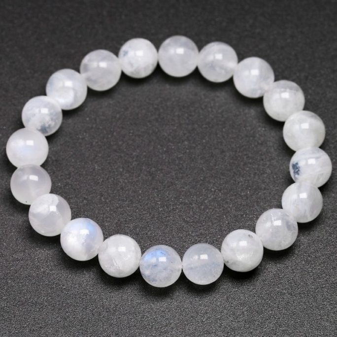 Bracelet en pierre de lune naturelle en perles de 10mm