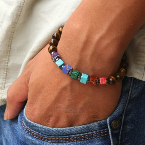 Bracelet harmonisation des chakras en Oeil de tigre