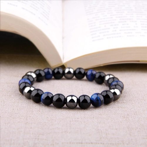 bracelet triple protection en oeil de tigre bleu hématite et obsidienne noire